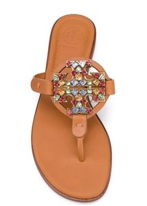 Tory Burch Crystal Miller Desert Camel Sandals